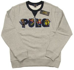 Polo Ralph Lauren Boys Grey Heather Ski Bear Graphic Fleece Pullover Sweater