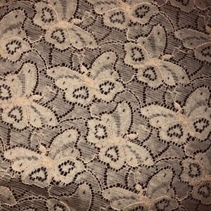 Vintage Lace Fabric BTY 3D Embroidered Butterflies Tea Stained Beige Gorgeous!