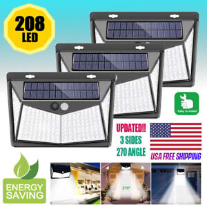 208 LED Solar Power Light PIR Motion Sensor Outdoor Lamp Wall Waterproof Garden