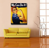 """/""""We Can Do It!/"""" Vintage Stretched Canvas Prints Framed Wall Art Home Shop Decor"""