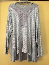 NEW H.I.P. Grey & White Striped Jersey Top, Lace Trim, Size 2X Plus, NWT