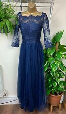 LADIES CHI CHI LONDON FULL LENGTH BLUE LACE & SHEER CHIFFON FORMAL DRESS BNWT 6