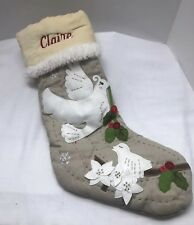 Pottery Barn Kids Ivory Dove Woodland Stocking Personalized Claire Christmas PBK