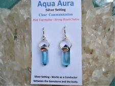 AQUA AURA Quartz-RARE PINK TOURMALINE Earrings-Heart+Throat Chakras-Beautiful!