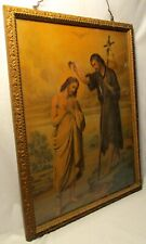 BAPTISM OF JESUS CHRIST BY JOHN THE BAPTIST Print In Antique Gilded Wooden Frame