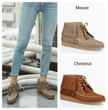 New UGG BNIB £170 Leather Fringe Women's Casual Ankle Shoes Boots UK 5 6 7 8