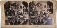Cimitero di Laeken Belgium Fotografia Stereo Vintage Albumina