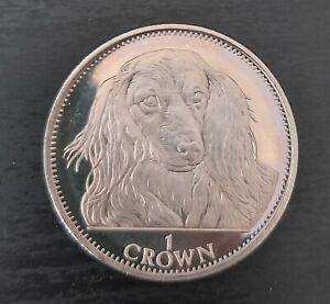 GIBRALTAR RARE 1 CROWN UNC COIN 1993 YEAR DOG LONG HAIR DACHSHUND KM#192.1