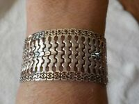 "~~ STERLING SILVER MEXICO BRACELET ~ 31 GRAMS ~ 1"" WIDE ~~ SAFETY LATCH ~~"