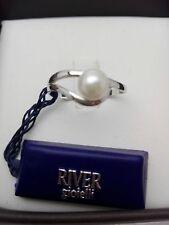 Anello donna oro bianco 18 kt e perla naturale 6 mm
