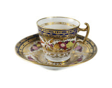 Continental Porcelain Tea Cup and Saucer Hand painted fruit florals gilt c1830
