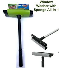 Window Washer with Sponge All-in-1 Window Squeegee Cleaner Brush Shower Car Wipe
