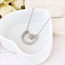 Women 925 Sterling Silver Cute Crescent Moon Star Charm Pendant Necklace Jewelry
