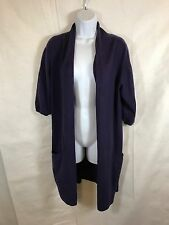 Vince Womens Cashmere Long Open Short Sleeve Cardigan Size M Purple FLAWS