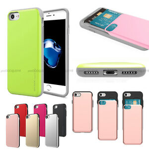 Shock protection 2-Card Slot Wallet Slide Bumper Case Cover For iPhone Galaxy LG