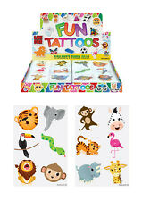72 Childrens Kids Jungle Zoo Temporary Tattoos Kids Loot Party Bag Fillers