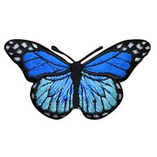"""Blue Butterfly Applique Patch - Insect, Bug Badge 2-7/8"""" (Iron on)"""