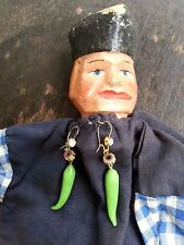 Green chilli pepper EARRINGS Gardener's World Lovers retro weird talking-points!