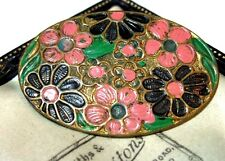 VINTAGE Antique Art Deco Jewellery Enamel Enamelled Flower Shawl Pin BROOCH