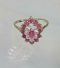 Genuine Ruby and Diamond Cluster Ring 9ct Yellow Gold Stunning