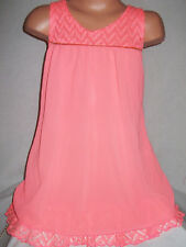 GIRLS 60s NEON CORAL LACE CHIFFON CONTRAST ZIP TRIM SWING PARTY DRESS age 7-8