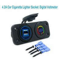 per caricabatterie con presa accendisigari auto USB Voltmetro digitale LED BLU