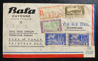 1946 Cayenne French Guiana Bata Shoe Co Airmail cover To Port Spain Trinidad