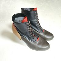 Fausto Santini Women's Block Color Leather Heeled Lace Boots   Sz 40