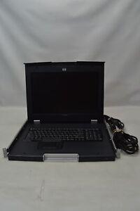 "HP TFT7600 17"" LCD Rackmount Monitor Keyboard w/ Rails"