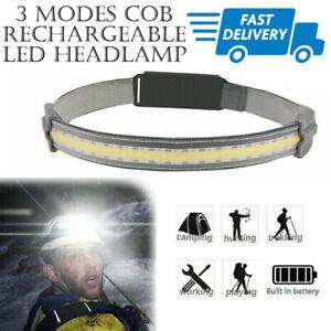 Waterproof COB 3 Modes Micro USB Rechargeable LED Headlamp Headlight Head Torch