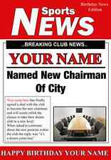 A5 Personalised City  Football Chairman Greeting Birthday Card PID023
