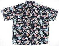 Reyn Spooner Art of Eddy Y Guitar Rock & Roll Print Multicolor Rayon Shirt XL