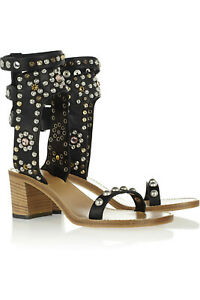 ISABEL MARANT Carol Black Studded Gem Leather Ankle Heel Strappy Sandal 38/8/7.5