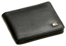 New Tommy Hilfiger Men's Leather Oxford Zip Around Wallet Black