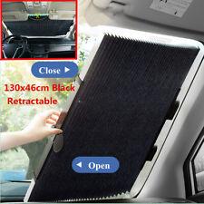 Retractable Car Curtain UV Protection Front Windshield Sun Visor Black 130x46cm