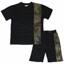 Kids Boys T Shirt Shorts Camouflage Green Contrast Panelled Top Summer Short Set