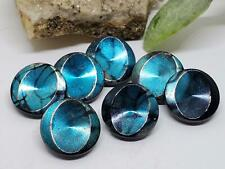7 Vintage Artsy Metallic Teal & Black Glass Buttons West Germany Craft Sewing