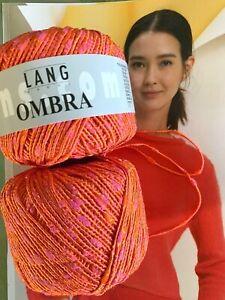 600 g OMBRA Lang Yarns Wolle  Koralle Pink Orange Cotton edler Glanz elegant