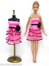 Pink girls toy doll BARBIE dress princess party new set mini outfit dresses BC49