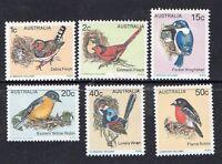 AUSTRALIA1979-AUSTRALIAN BIRDS DEFINITIVE ISSUES COMPLETE SET OF 6 MUH