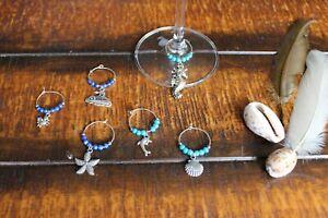Wine Glass Rings Blue Glass Beaded Ocean Beach Dolphin Boat Shell Rings Set of 6