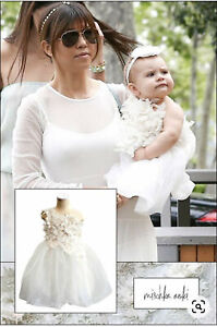 Stunning Mischka Aoki sz 2 off white couture dress flower girl wedding