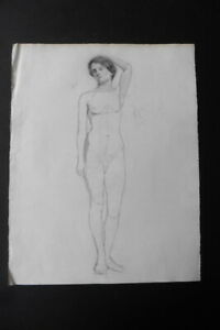 FRENCH SCHOOL 19thC - FINE STUDY FEMALE NUDE - CHARCOAL DRAWING