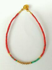 Afghan Natural Coral & Malachite Tiny Seed Beads Bracelet Gold Plated Handmade