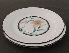 2 Corning Ware Corelle Tiger Lily Salad Dessert Luncheon Plates Swirl Edge