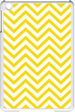Yellow Chevron Design on iPad Mini White Case Cover