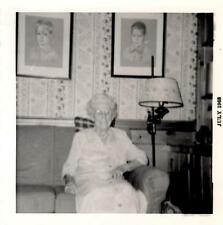 1968 B&W Vintage Photograph - Elderly Woman Sitting on a Couch - Wall Portraits