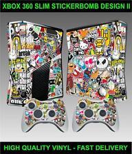 XBOX 360 SLIM CONSOLE STICKERBOMB VERSION II STICKER SKIN & 2 CONTROLLER SKINS