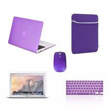 "5 IN 1 Macbook Air 13"" Rubberized Purple Case +Keyboard Skin + LCD + Bag + Mouse"