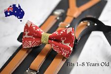 Kids Boys Christmas Xmas Elk Deer Bow tie + Brown Tan Leather Suspenders Braces